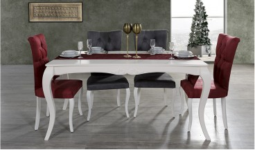 Şah Yemek Odası Takımı (Beyaz)