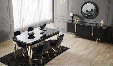 Almira Masa + 6 Sandalye (Siyah)